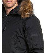 Blouson court parka hiver noir avec capuche fourrure stylé preview2