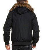 Blouson court parka hiver noir avec capuche fourrure stylé preview3