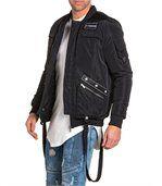 Blouson homme noir street zippé à patchs preview1