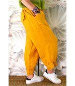 Pantalon lin grande taille FEMINA jaune preview2