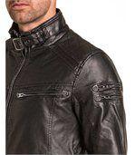 Blouson zippé homme noir simili cuir preview2