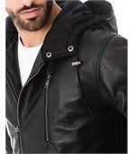 Blouson cuir homme long noir zippé capuche preview2