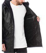 Blouson cuir homme long noir zippé capuche preview3