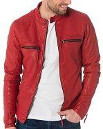 Blouson cuir homme calcutta rouge preview1