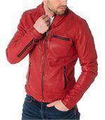 Blouson cuir homme calcutta rouge preview2