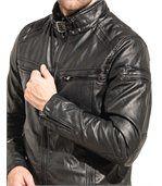 Blouson homme noir effet cuir zippé preview2