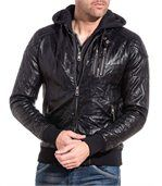 Blouson noir zippé effet cuir homme sweat capuche preview1