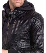 Blouson noir zippé effet cuir homme sweat capuche preview2