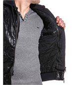 Blouson noir zippé effet cuir homme sweat capuche preview3