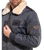 Blouson aviateur hiver gris col fourrure preview2