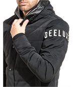 Blouson noir matelassé imprimé logo à capuche preview2