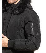 Blouson long fashion noir homme grosse capuche fourrure preview2