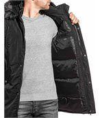 Blouson long fashion noir homme grosse capuche fourrure preview3
