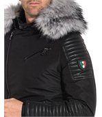 Blouson noir avec aspect cuir et à capuche fourrure grise preview3