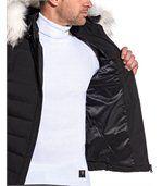 Blouson homme noir matelassé capuche fausse fourrure blanche preview3