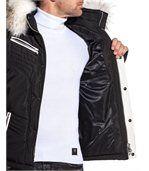 Blouson capuche fourrure et empiècement simili cuir blanc preview3