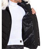Blouson long chic noir capuche fausse fourrure blanche preview3