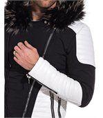 Blouson homme noir et blanch capuche fourrure preview2