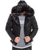 Blouson homme noir effet cuir zip capuche fourrure preview1