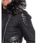 Blouson homme noir effet cuir zip capuche fourrure preview2