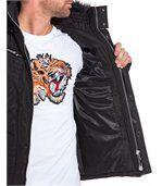 Blouson noir empiècement aspect cuir et capuche fourrure tendance preview3
