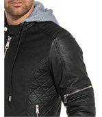 Blouson homme noir effet cuir zippé capuche sweat preview2