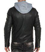 Blouson homme noir effet cuir zippé capuche sweat preview3