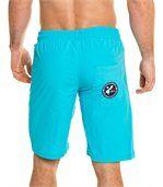 Short de bain turquoise uni zip preview3