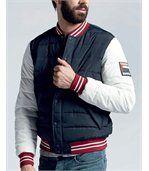 Blouson veste Teddy bleu et blanc BONTO de marque preview2