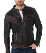 Blouson homme en cuir noir vintage coupe skinny preview1