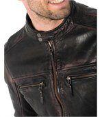 Blouson homme en cuir noir vintage coupe skinny preview2