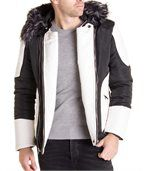 Blouson noir blanc avec capuche fourrure noire et grise stylé pour homme preview2