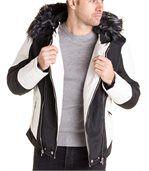 Blouson noir blanc avec capuche fourrure noire et grise stylé pour homme preview3