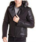 Blouson noir avec simili cuir et capuche fourrure noir tendance preview1