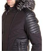 Blouson noir avec simili cuir et capuche fourrure noir tendance preview3