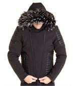 Blouson noir avec simili cuir et capuche fourrure noir tendance preview2