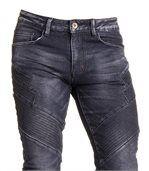 Jeans noir délavé en coupe slim et surpiqûres tendance pour homme preview2