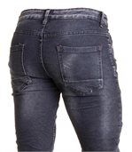 Jeans noir délavé en coupe slim et surpiqûres tendance pour homme preview3
