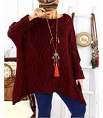Pull long grande taille mohair CHARME bordeaux