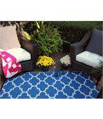 Tapis intérieur extérieur Tangier bleu et blanc preview3