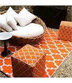 Tapis intérieur extérieur Tangier orange et blanc 180 x 120 cm preview4