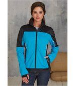 VESTE SOFTSHELL BICOLORE FEMME Aqua Blue / Black preview3