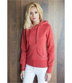Sweat-shirt capuche mélange femme Dark Red Heather preview1