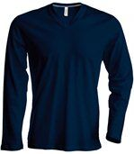 T-SHIRT COL V MANCHES LONGUES Navy preview2