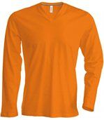 T-SHIRT COL V MANCHES LONGUES Orange preview2