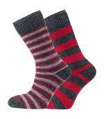 Heritage Merino Outdoor - Chaussettes (Lot De 2) - Mixte (Rouge/charbon (rayures et cercles)) - UTHZ116 preview1