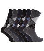 Chaussettes À Motifs Losange En Mélange De Coton Pour Homme (Lot De 6 Paires) (Noir/Gris/Bleu marine) - UTMB150 preview1