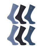 Floso - Chaussettes Unies 100% Coton (Lot De 6 Paires) - Homme (Nuances de bleu) - UTMB183 preview1