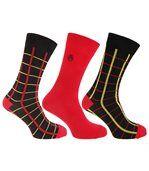 Chaussettes Style Tetris (3 Paires) - Homme (Carreaux rouges) - UTMB261 preview1