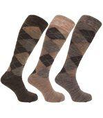 Chaussettes Hautes En Mélange De Laine (Lot De 3 Paires) - Homme (Tons marron) - UTMB277 preview1